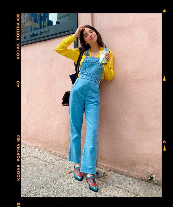 Giovana Marçon - jardineira - jardineira-jeans - inverno - em-casa - https://stealthelook.com.br