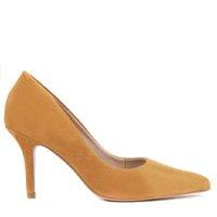 Scarpin Jenny Nobuck Couro Salto Alto Bico Fino Amarelo