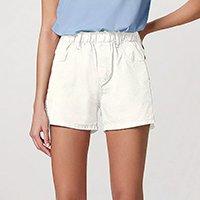 Shorts Feminino Em Sarja Com Cós De Elástico - Off White