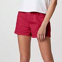 Shorts Feminino Em Sarja Com Cós De Elástico - Vermelho