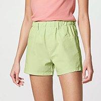 Shorts Feminino Em Sarja Com Cós De Elástico - Verde
