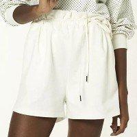 Shorts Feminino Cintura Alta Com Amarração - Branco