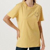 Camiseta Unissex Manga Curta Estampa Smiley - Amarelo