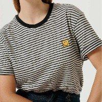 Camiseta Unissex Listrada Com Bordado Smiley - Preto