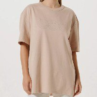 Camiseta Unissex Com Bordado Smiley - Bege