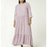 Vestido Longo Manga Longa Estampado - Rosa