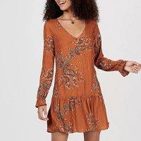 Vestido Feminino Em Tecido Texturizado De Viscose Estampado - Marrom