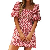 Vestido Ocitop feminino, manga curta, evasê, estampa floral, vestido de gola quadrada, vestido de manga bufante, gola quadrada, minivestido