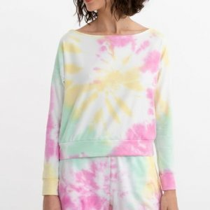 Blusão Curto Decote Deslocado Tie Dye Comfy