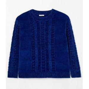Suéter em Chenille com Tranças