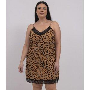 Camisola Alcinha Animal Print com Decote V e Renda Curve & Plus Size