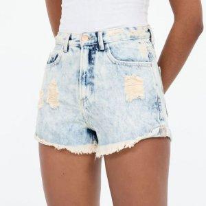 Short Jeans Liso Marmorizado Cintura Alta com Puídos