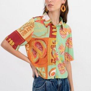 Camisa Curta Estampa Frutas