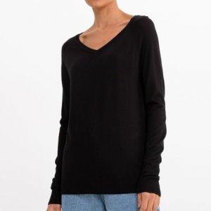 Suéter Liso com Decote V