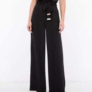 Calça Pantalona Alfaiataria com Amarração e Ponteira