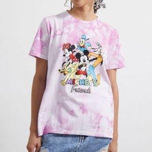 Camiseta Manga Curta Alongada Tie Dye Estampa Mickey\'s Friends