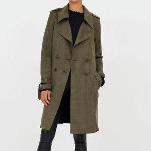 Jaqueta Trench Coat em Fake Suede