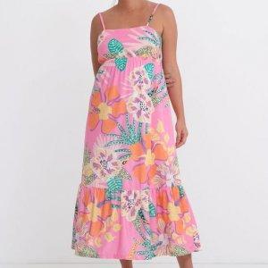 Vestido Longo com Alcinha Abertura nas Costas Estampa Floral