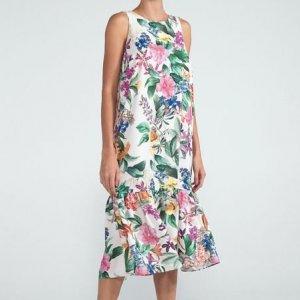 Vestido Midi Estampa Floral com Marias na Barra Comfy