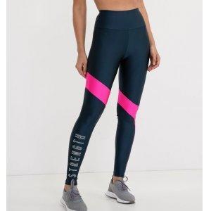 Calça Legging Esportiva com Recorte Neon Estampa Strength
