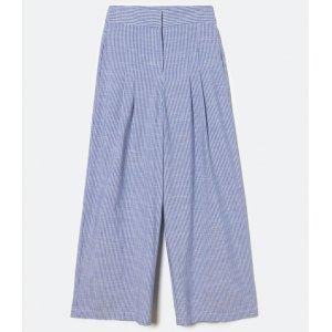 Calça Pantalona em Algodão com Listras