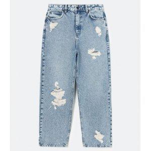 Calça Wide Leg Jeans Lisa com Puídos