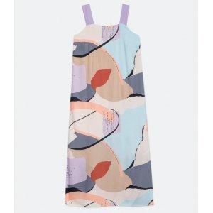 Vestido Longo Alça Larga em Viscose com Estampa Abstrata