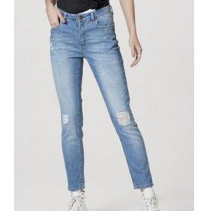 Calça Jeans Feminina Cigarrete Destroyed Com Elastano