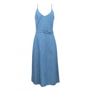 Vestido Midi Feminino Em Jeans De Algodão Com Alças Finas