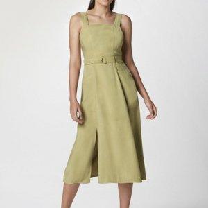 Vestido Midi Com Bolso E Fenda Frontal