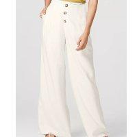 Calça Feminina Pantalona Em Tecido - Branco