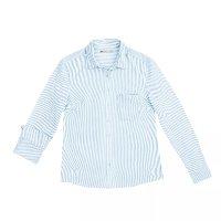 Camisa Feminina Básica Em Fio Tinto De Algodão Com Bolso Frontal - Azul