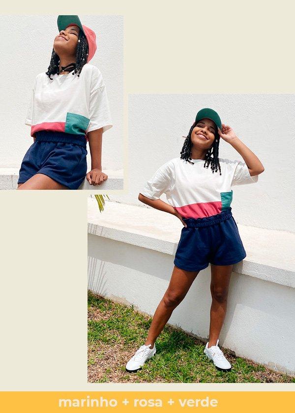 Claudiana Ribeiro - camiseta-e-short - colorblock - verão - em-casa - https://stealthelook.com.br