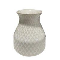 Vaso Decoração Cerâmica Branco 17 cm - D\'Rossi