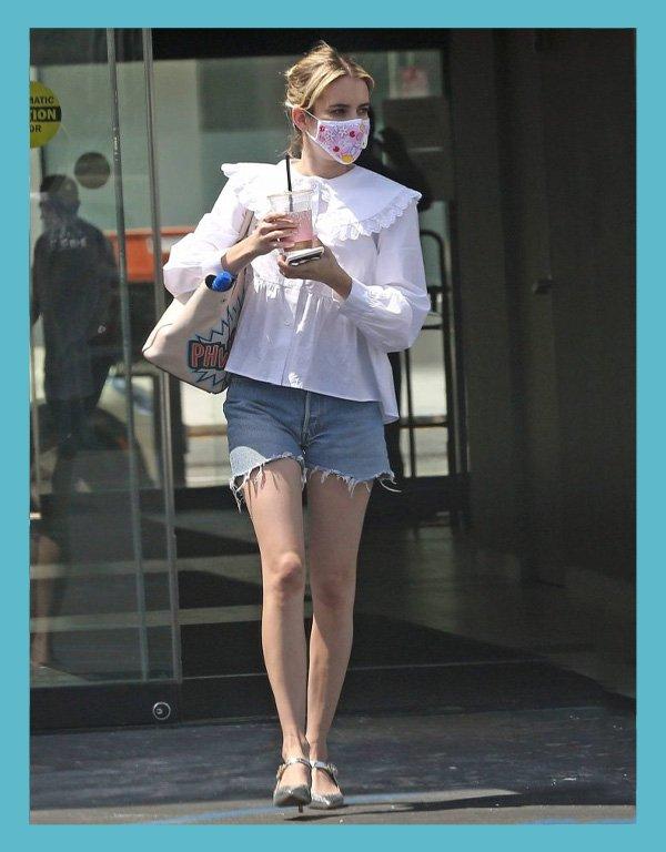 Emma Roberts - looks com short jeans - shorts jeans - verão - street style - https://stealthelook.com.br
