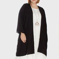Kimono Midi Viscolinho Plus Size - Preto-Único