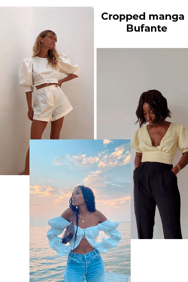 Aida, Jeanette Madsen, Claire Most - cropped - Cropped manga bufante - verão - street style  - https://stealthelook.com.br