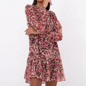 Vestido em Chiffon Floral com Amarração e Mangas Bufantes