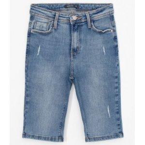 Bermuda Jeans Ciclista com Puídos