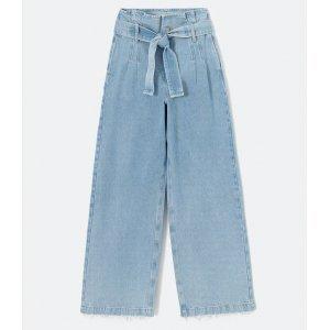 Calça Pantalona Jeans com Cós Clochard e Cinto Faixa
