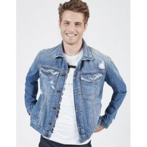 Jaqueta Masculina Jeans Destroyed Tamanho P