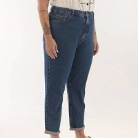CALÇA MOM JEANS LISA CURVE & PLUS SIZE AZUL