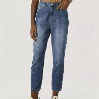 Calça Feminina Mom Em Jeans De Algodão Com Bolsos - Azul