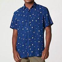 Camisa Masculina Comfort Em Viscose Estampada - Azul