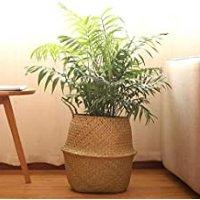 Cesta de Fibra Natural de Palha para Organização, Roupas ou Plantas (vaso) - Grande