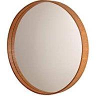 Espelho Redondo Com Moldura De Madeira Formacril Mogno Base 0884 Mg