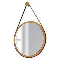 Espelho Redondo Decorativo Adnet Freijó Madeira Escandinavo com Alça de Couro 54 cm - Lyam Decor