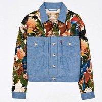 jaqueta jeans estampada collage levis