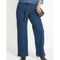 bonprix - Calça Jeans Pantalona Clochard Azul Médio