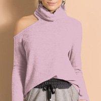 Quintess - Blusa com Gola Alta e Ombro Vazado Rosa